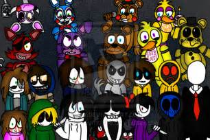 The fnaf crew and the creepypasta family by dangerhurricane on