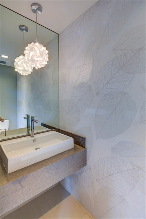 tropical mid century modern contemporary powder room