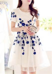 Garden Party Formal Dress - blue flowers embroidery short sleeve high quality homecoming cute dress midi dresses dresses