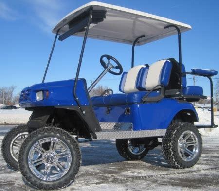 Ezgo Blue White Txt 36v Golf Cart W Two Tone Seats