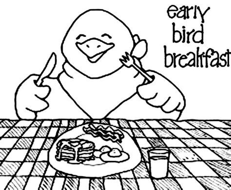 early bird coloring page free coloring pages of breakfast time