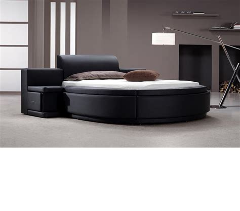 round bed dreamfurniture com owen black leather round bed with