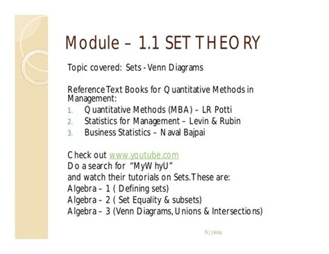 Quantitative Techniques Notes For Mba by Quantitative Techniques In Management Set Theory