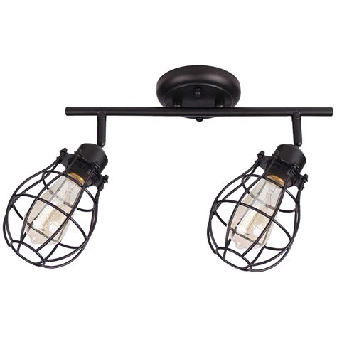 Black Track Lighting Fixtures Beldi Lancy 2 Lights Matte Black Track Light With Cage Shade 1815 Tr2 The Home Depot