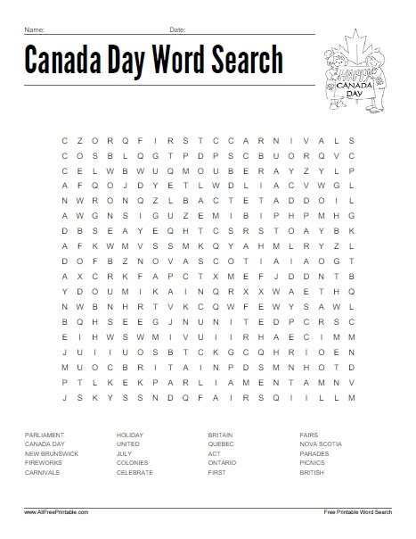 Free Search In Canada Canada Day Word Search Free Printable Allfreeprintable