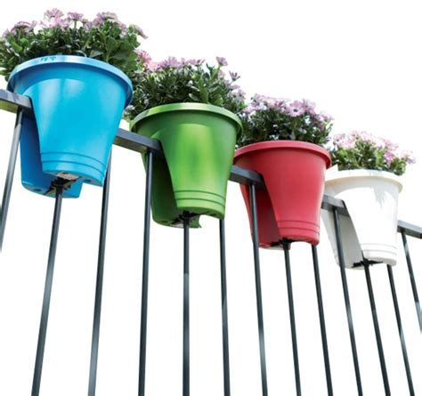 Colorful Outdoor Planters Colorful Railing Planters Set Of 2 White Traditional