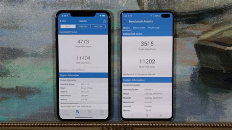 samsung galaxy s10 plus vs iphone xs max benchmark speed test