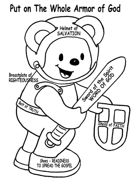armor of god coloring sheet for little ones teach teddy
