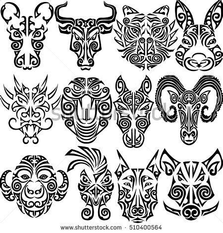 chinese zodiac tiger tattoo designs zodiac signs set rat ox bull tiger rabbit