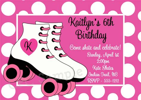 roller skating invitation template rollerskating birthday invitation printable or printed