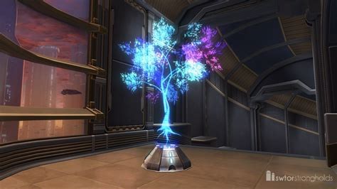hologram tree holographic tree blue decoration swtor strongholds