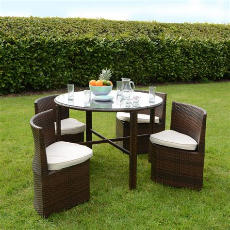 Garden Dining Table And Chairs Napoli Rattan Wicker Dining Garden Furniture Set With Glass Top Table 4 Chairs