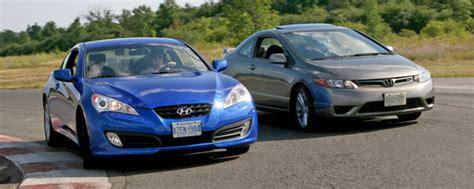hyundai genesis coupe 2 0t vs honda civic si coupe track