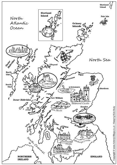map of scotland colouring page scotland scottish