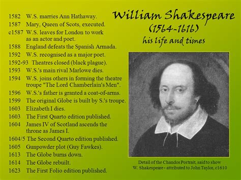 shakespeare biography in spanish william shakespeare his life and times ppt download