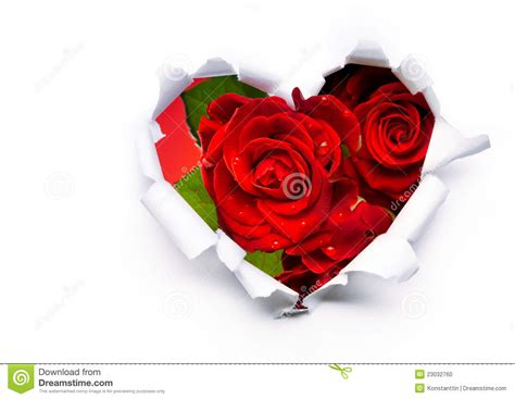 Passion Party Decoration Ideas Red Roses And Paper Heart On Valentine Day Stock Photo