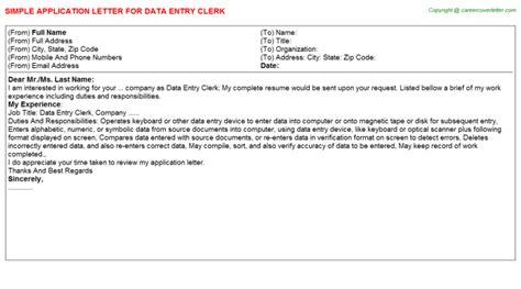 application letter data entry clerk data entry clerk application letter sle template format
