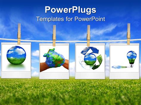 Powerpoint Template Four Depictions Related To Nature And Environment Green Lifestyle Globe Energy Powerpoint Template