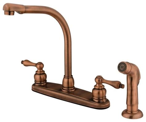 High Arch Kitchen Faucet High Arch Antique Copper Kitchen Faucet With Sprayer