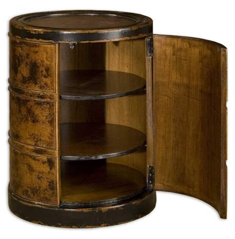accent cabinet with shelves antique brown drum table wood accent cabinet end