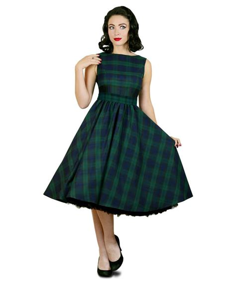 tartan swing dress uk black watch tartan vintage style swing dress by british
