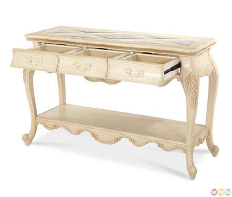 michael amini sofa table michael amini lavelle blanc finish traditional console