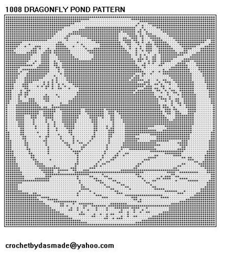 1008 dragonfly filet crochet doily afghan pattern