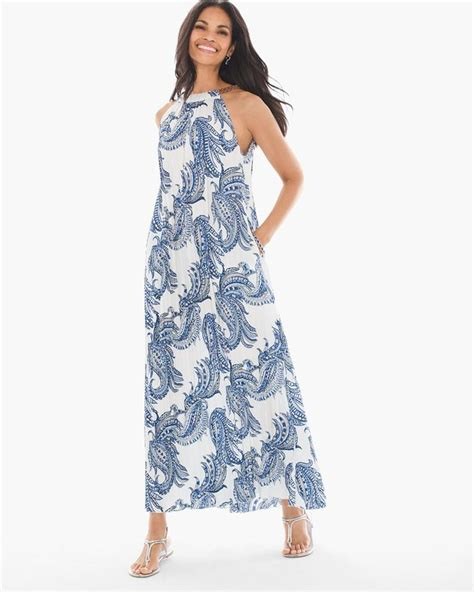 Longdress Chicos chico s blue white summertime paisley pleated casual maxi dress size 16 xl plus 0x tradesy