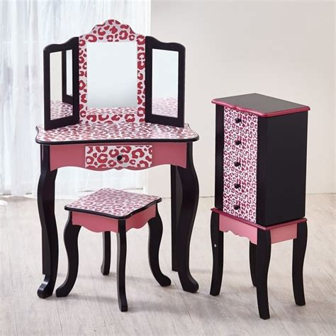 Youth Vanity Table Teamson Vanity Table And Stool Set In Black And Pink Leopard Td 11670a