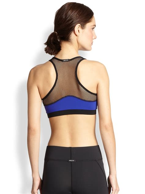 Mesh Sports Bra lyst michi bionic mesh sports bra in blue