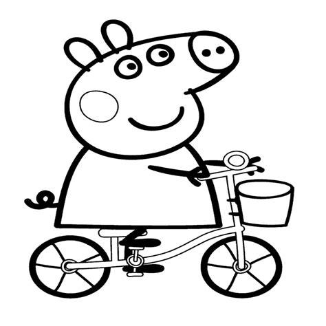 dibujos para pintar pepa dibujo de peppa pig en bicicleta para imprimir y colorear