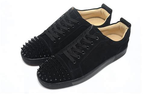 black louboutin sneakers christian louboutin black matte black spike sneakers