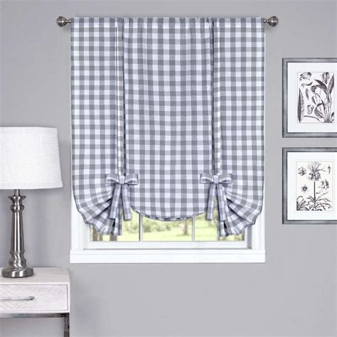 gray tier curtains achim buffalo check grey window curtain tier pair 58 in