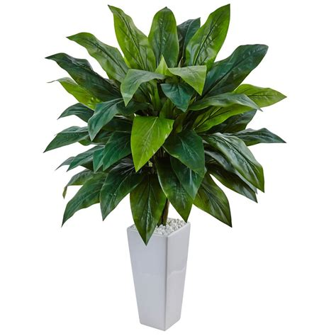 plant l home depot nearly natural indoor cordyline artificial plant in white