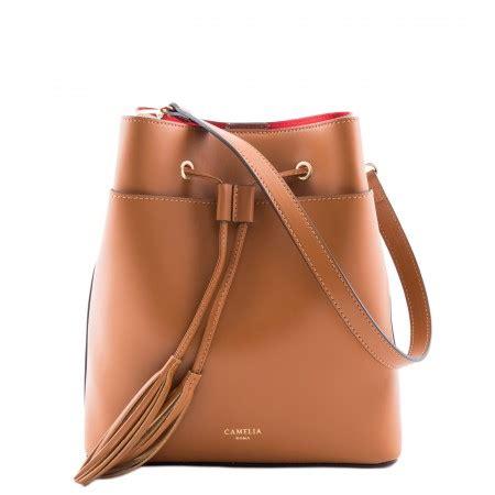 leather bucket bag camelia roma