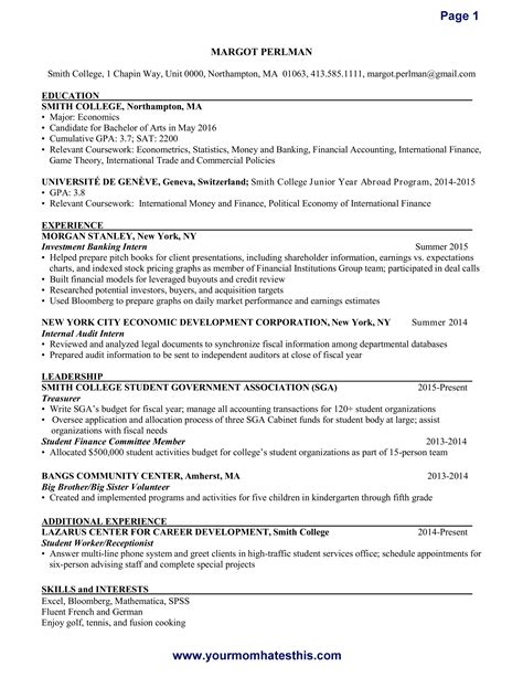 mba finance experience resume resume ideas