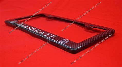 Maserati License Plate Frame by Maserati Carbon Fiber Plate Frame White Text 2x2 Twill