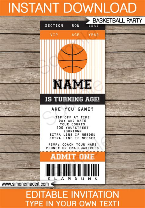Basketball Ticket Template Free Basketball Ticket Invitation Template Basketball Invitations