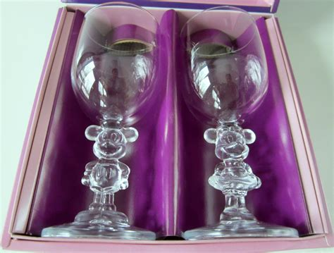 donald doll vine disney mickey minnie mouse wine glasses vintage onishi japan