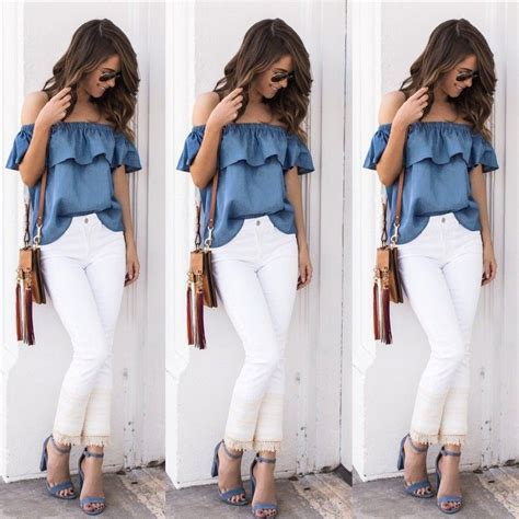Blouse Denimatasan Denim Import Fashion Wanita womens summer vintage shoulder tops casual t shirt denim blouse ebay