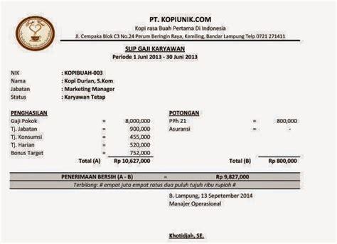 format slip gaji karyawan restoran 5 contoh slip gaji karyawan swasta