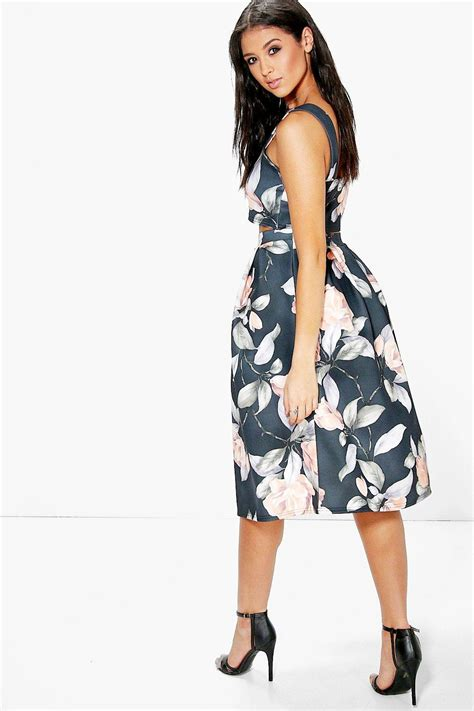 boohoo womens crop top midi skirt co ord set