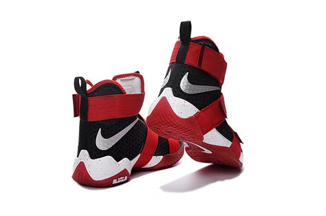 Sepatu Basket Nike Lebron Zoom Soldier 10 Bred Black Curry nike lebron soldier 10 x black and