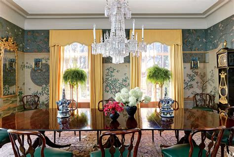 chinoiserie dining room chinoiserie wallpaper and panels take the stage in these