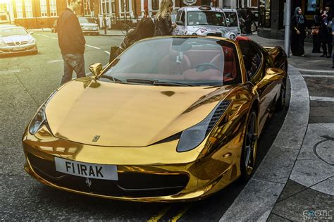 golden ferrari luxury life design chrome gold ferrari 458 spider
