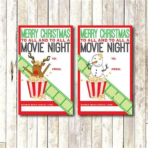 Printable Movie Gift Cards - redbox gift card tag printable instant download movie night gift tag christmas