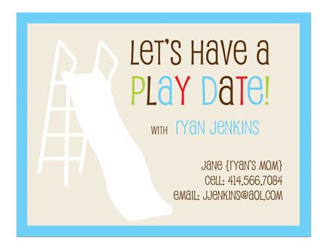 Gifts For Hostess by Flat Note Card Playdate Invitation Set Of 25