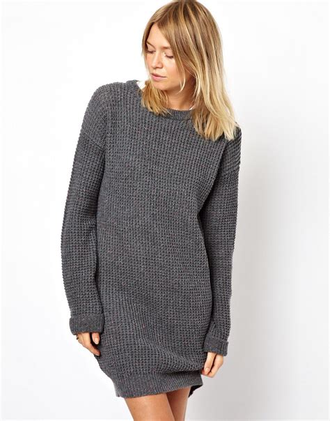 Sweater Dress - asos sweater dress in grey lyst