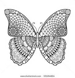 Butterfly Vintage Decorative Elements With Mandalas Oriental Pattern  sketch template