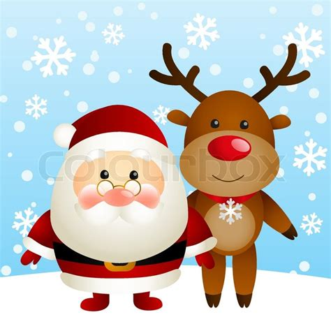 cute santa  funny deer stock vector colourbox